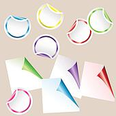 Set of colored curled glossy paper corners