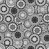 Seamless pattern with black and white oriental motifs
