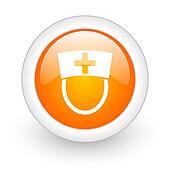 nurse orange glossy web icon on white background