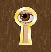 Door keyhole with eye