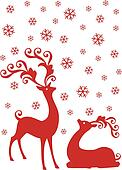 reindeer in snowfall, vector