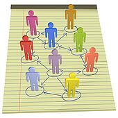 People symbols connect business network legal paper