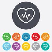 Heartbeat sign icon. Cardiogram symbol.