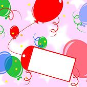 Card Tied To Balloon Meaning Birthday Party Invitation Or Celebration