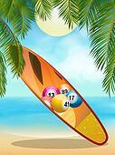 Tropical beach with bingo surfboard