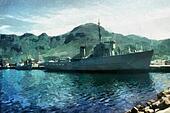 Warship in Harbor