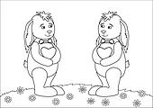 Rabbits with hearts on a meadow, contours