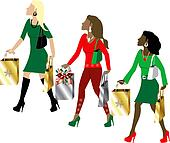 Women Christmas Shopping