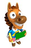 3D Horse Mascot hand is holding a Chalk and Chalkboard. 3D Animal Character Design Series.