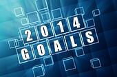 new year 2014 goals in blue glass blocks