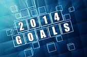 new year 2014 goals in blue glass blocks