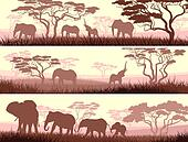Banners of wild animals in Africa.