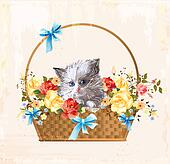 vintage greeting card with fluffy kitten