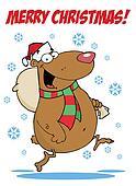 Santa Bear Runs With Bag And Text