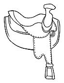 Outlined Horse Saddle