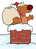 Christmas Santa Bear In A Chimney