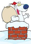Happy Santa Polar Bear Waving