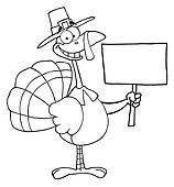 Turkey Bird Holding A Blank Sign
