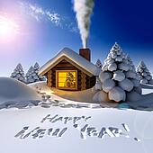 A small cottage in the fairy forest in snowy New Year's Eve. Around the hut on the snow trails and an inscription - a Happy New Year!