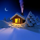 A small cottage in the fairy forest in snowy New Year's Eve. Around the hut on the snow trails