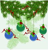 Christmas tree branches vector background