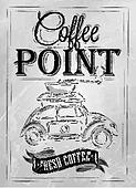 Retro poster coffee point coal