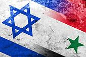 Israel and Syria Flag with a vintage and old look