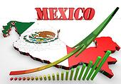 map illustration of Mexico with flag
