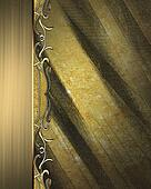 Grunge texture of old metal plate with gold edge. Pattern for decoration