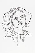 Original ink line drawing. Portrait of an Edwardian young lady.