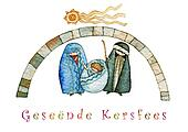 illustration for Christmas whit manger end star comet with caption in Afrikaans