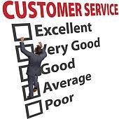 Business man customer service satisfaction form