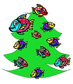 fish  at the Christmas tree