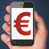 Currency concept: Euro on smartphone