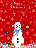Christmas Snowman Hanging Ornament and Red Cardinal Bird