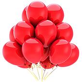 Totally red helium party balloons