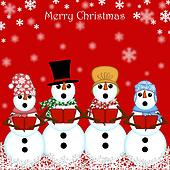 Christmas Snowman Carolers Singing Red