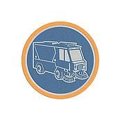 Metallic Street Cleaner Truck Circle Retro