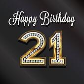 21th Happy birthday anniversary greeting card.