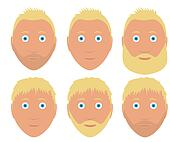 set of man faces with different hairstyle and beard blond