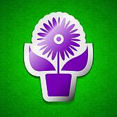 Flowers in pot icon sign. Symbol chic colored sticky label on green background.