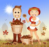 man and girl with chestnuts