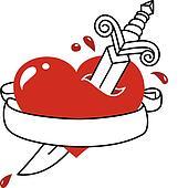 Tattoo style heart, dagger and bann