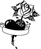 Tattoo heart, rose and banner