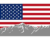 Mountains with flag of USA