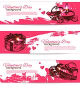 Set of Valentine's Day banners. Hand drawn illustrations