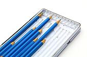 box full of professional pencil isolated