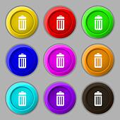 The trash icon sign. symbol on nine round colourful buttons.