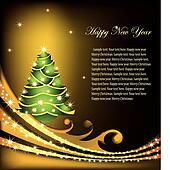 Christmas gold Card. Vector