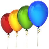 Party balloons in a row